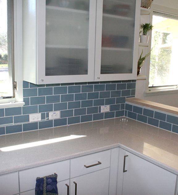 Kitchen Backsplash Neutral: Blue Subway Tile Backsplash... Or Maybe A Mint Color? Dark