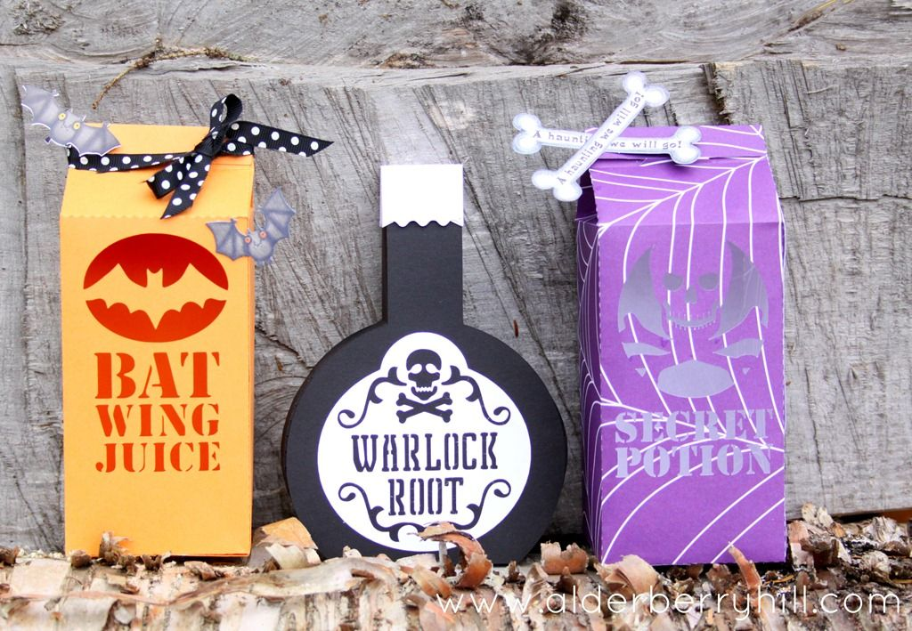 Halloween Paper Cartons  Bottles with Silhouette cutting files - halloween diy crafts