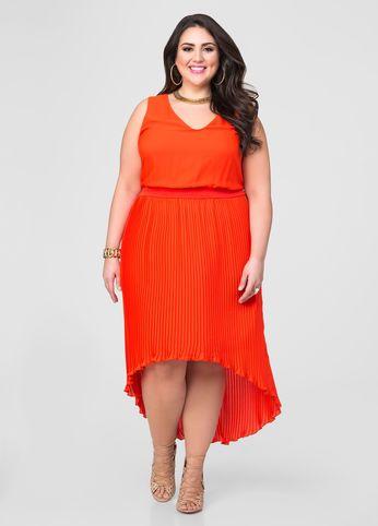 Accordion Pleat Hi Lo Dress Orange Dresses Plus Size Formal Dresses Plus Size Dresses Orange Dress