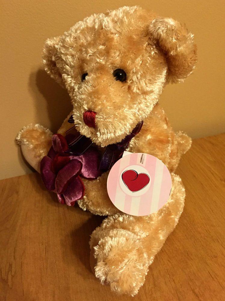 Dan Dee Valentines Bear Vase Hugger Velvet Flower Plush Stuffed