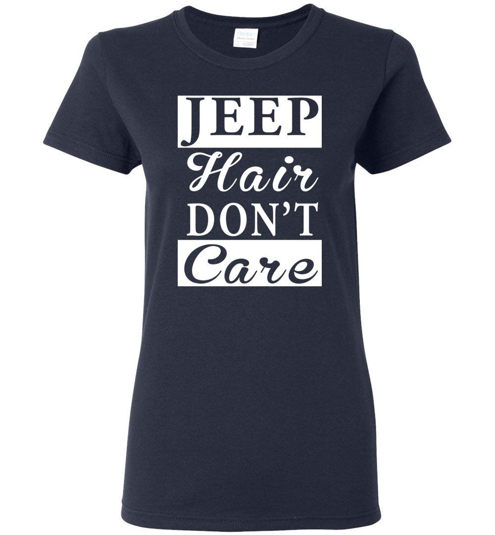 Jeep Hair Don't Care Funny youth jeep shirt for Jeep owner or Lover - Ladies Short-Sleeve