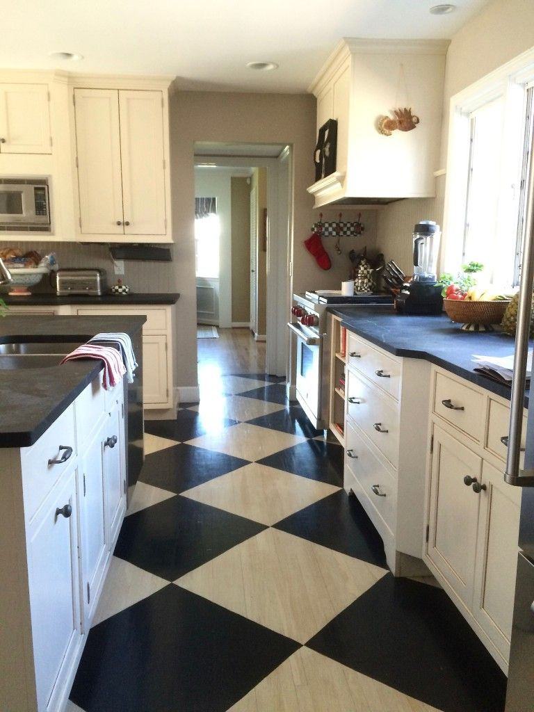 Farmhouse Painted Black And White Checkered Floor By Meme Hill Studio Checkered Floor Kitchen Kitchen Flooring Checkered Kitchen Decor Black and white checkered kitchen floor