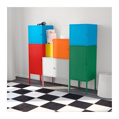 LIXHULT Aufbewahrungskombi, weiß\/grün\/blau\/gelb, rot\/orange\/grau - wohnzimmer grun gelb