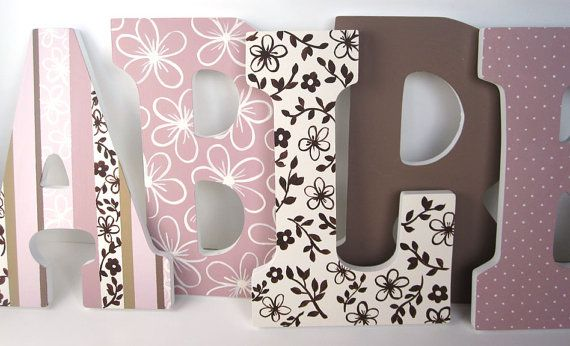 Wood Nursery Letters Pink And Brown 9 Inch By Murraydesign