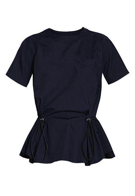 Shop the Sacai Navy Drawstring Top online at Graziashop.com - Grazia's new high fashion marketplace for womens designer clothing and accessories.