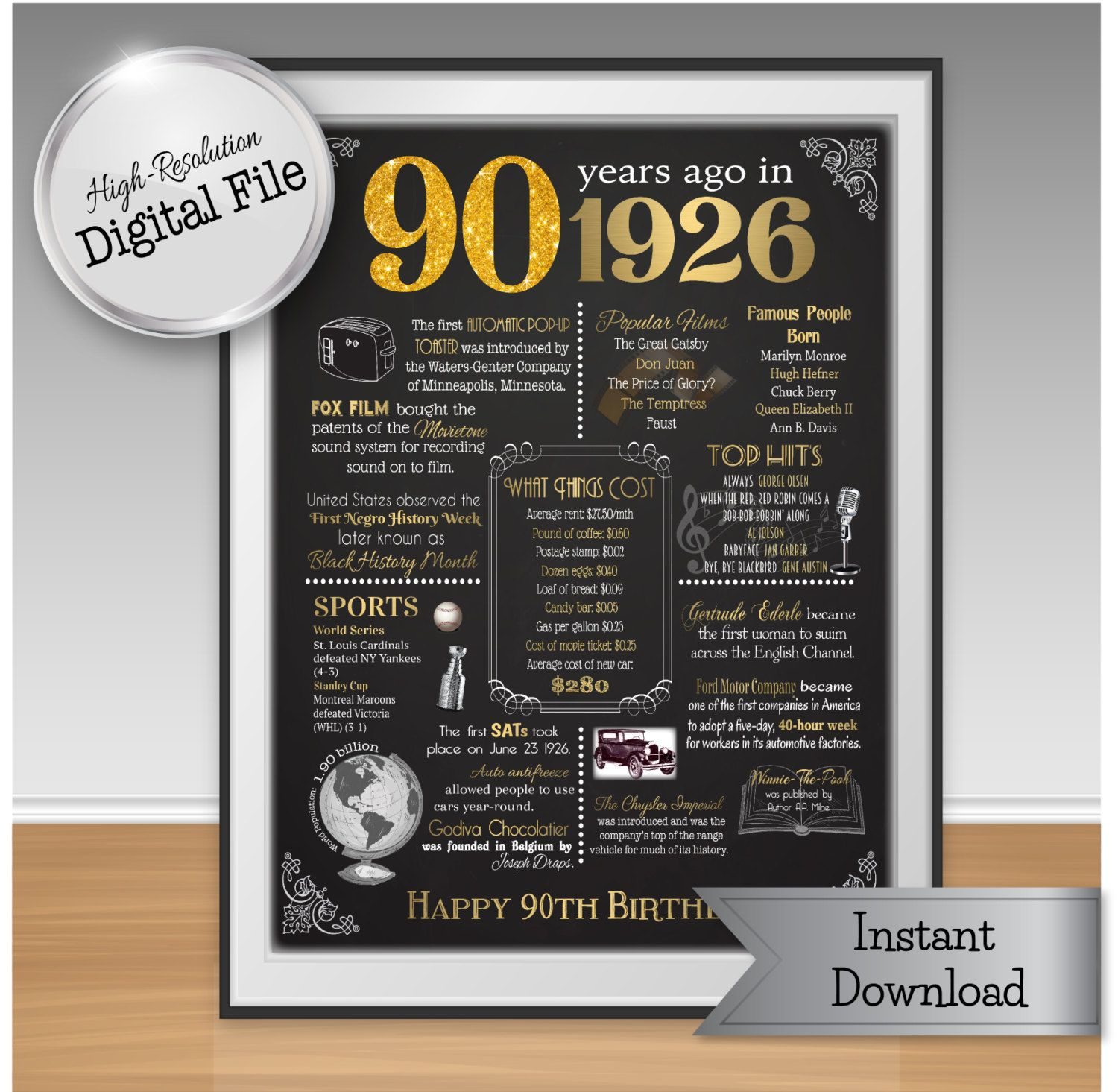 90th Birthday Print Instant Download 1926 Events by JJsDesignz