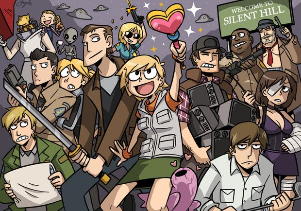 """Fun """"Silent Hill"""" fanart celebrating the quirkier non-scary aspects from the series. Artist unknown."""