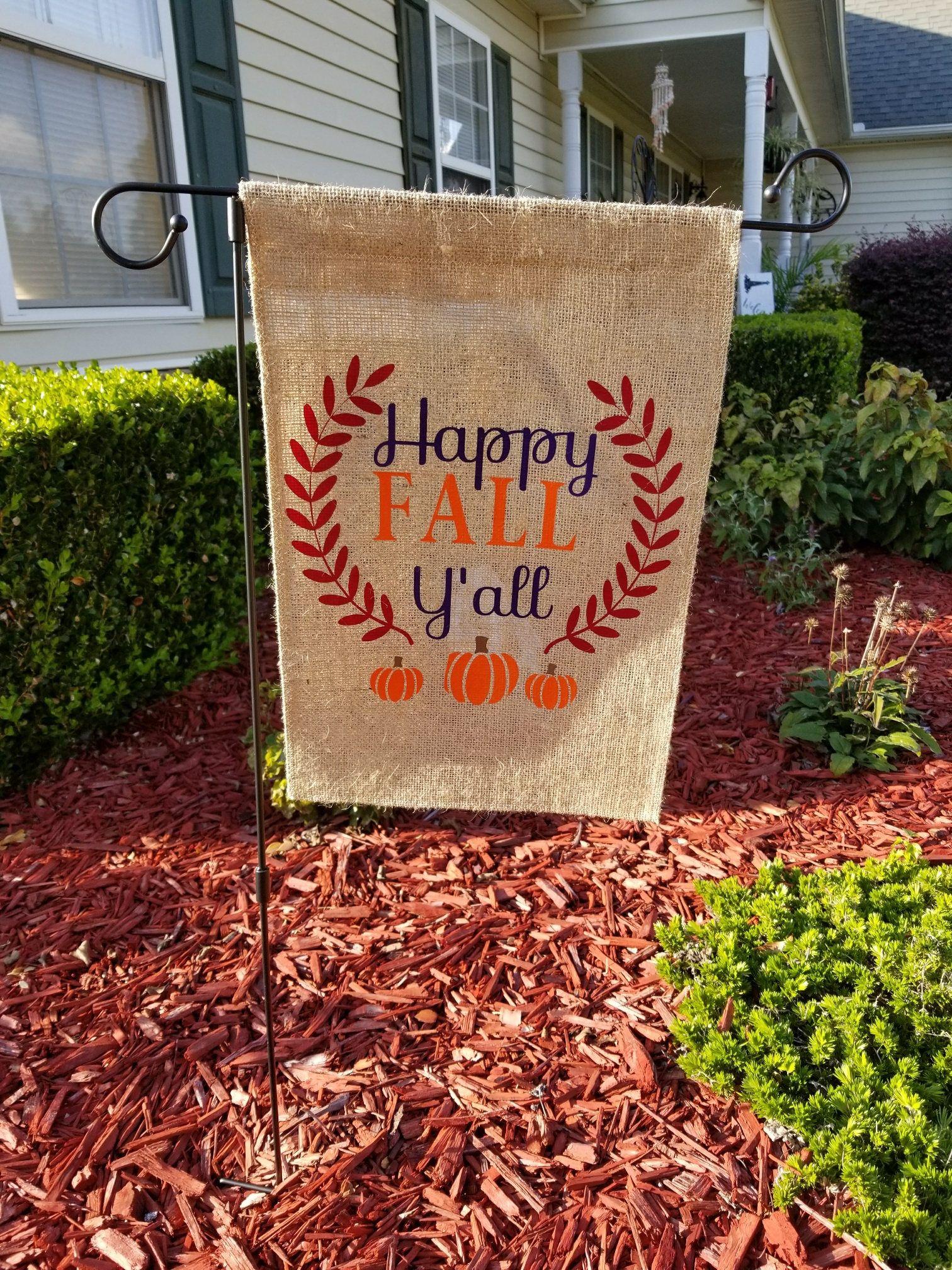 Happy Fall Ya\'ll Garden Flag, Garden Flag, Flower Bed Decor, Front ...
