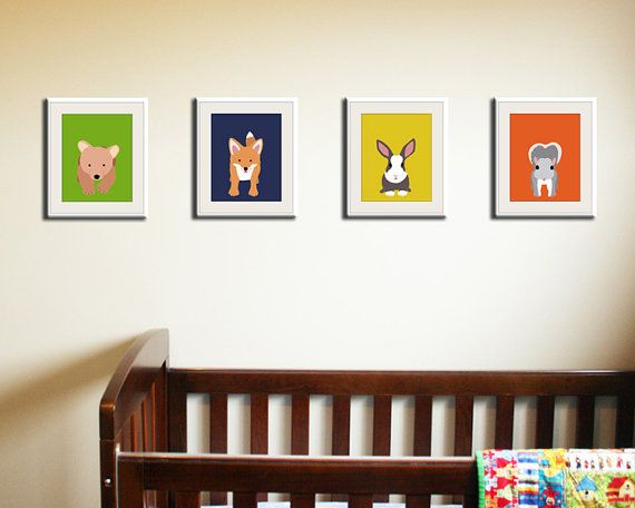 Animal Wall Art forest animal nursery prints. set of any 4 woodland creatures wall