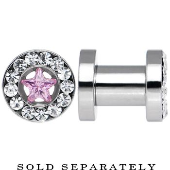 4 Gauge Stainless Steel Star Pink CZ Screw Fit Tunnel | Body Candy Body Jewelry