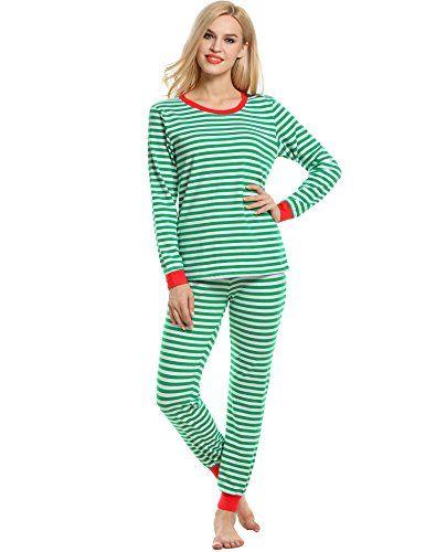 d8bd1b42c131 Avidlove Womens Fitted Stripe Christmas Pajama Set Cotton Pjs Seasonal  Sleepwear Large Green      AMAZON BEST BUY     ChristmasCostumes
