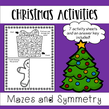 Christmas Activities Worksheets Mazes And Symmetry Activities In 2020 Symmetry Activities Christmas Activities Fun Christmas Activities