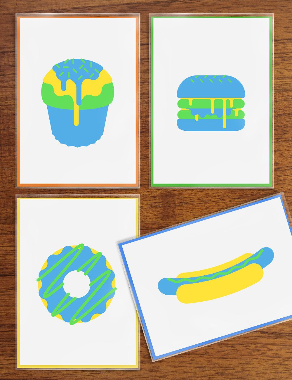 Pack Of 4 Handmade Greeting Cards Fast Food Giclee 315g Fine Art