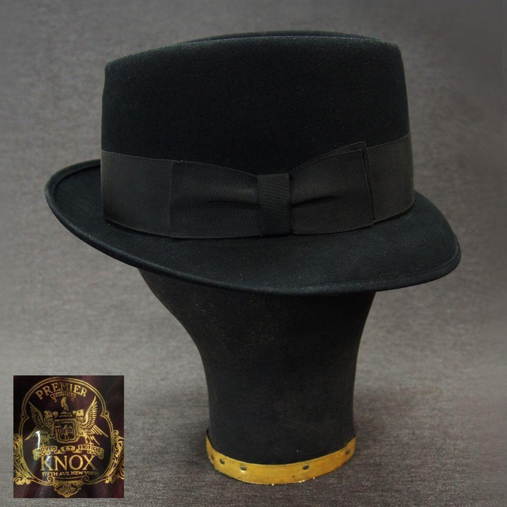 Vtg KNOX New York PREMIER QUALITY Black Fedora Hat 7 1 4 Looks Unworn   PremierKnoxNewYork  Fedora  CasualFormal 08f56e41ad99