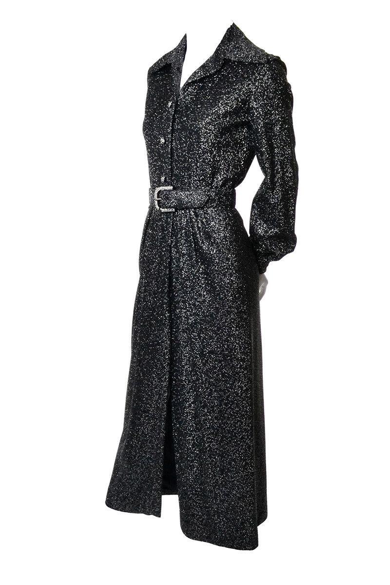 Perullo for fred perlberg vintage black silver metallic dress
