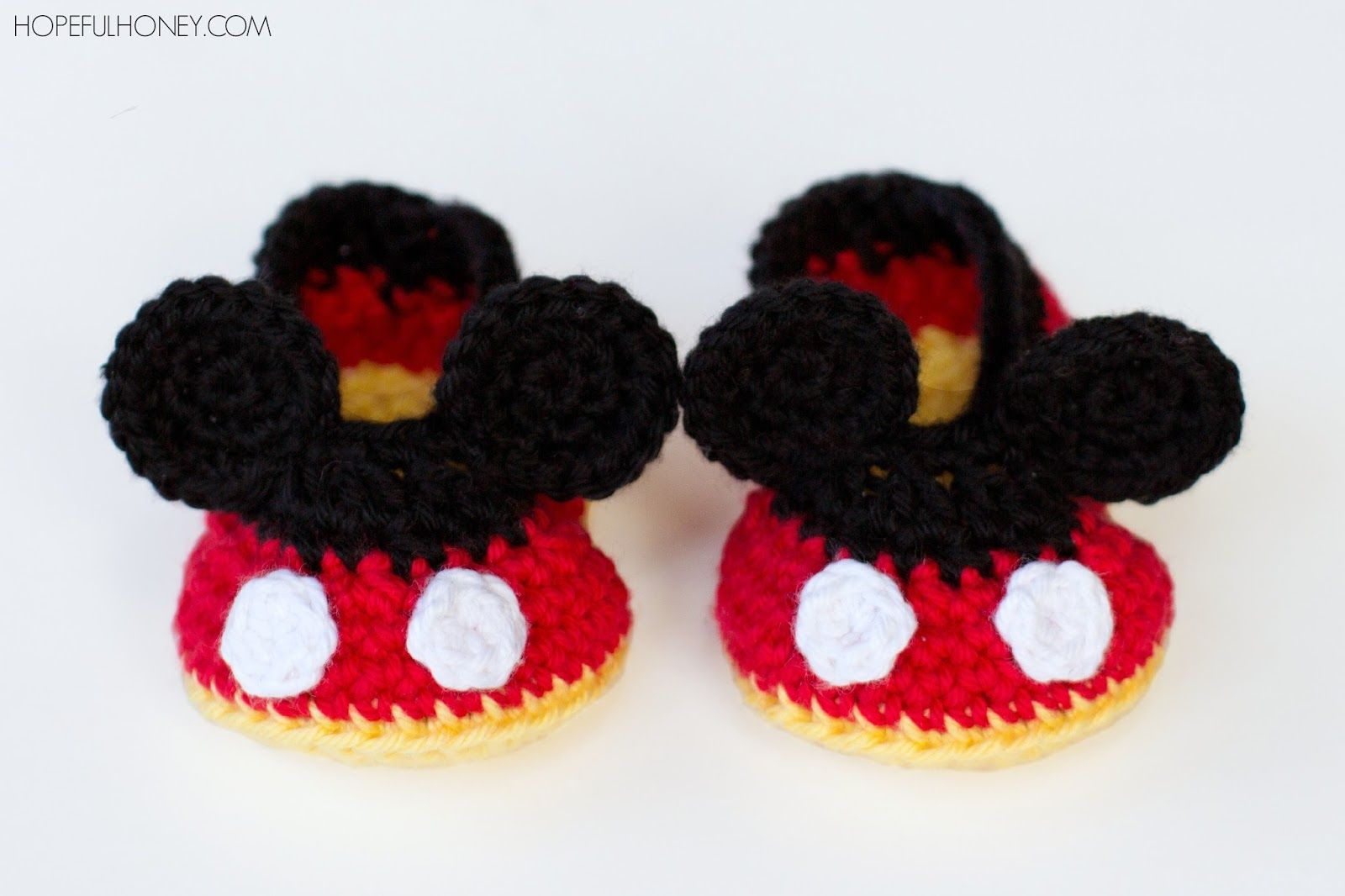 Mickey Mouse Inspired Baby Booties Crochet Pattern | Pinterest ...