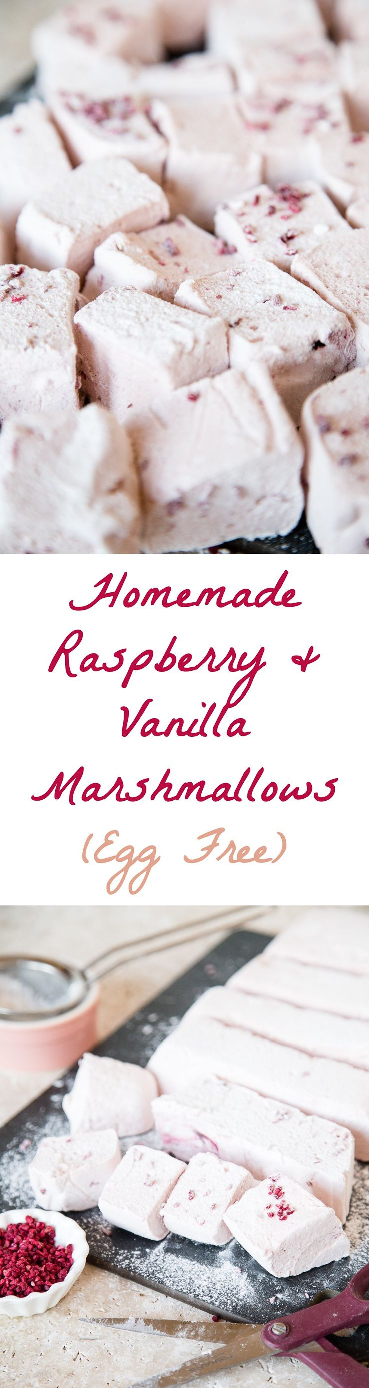 Homemade Vanilla Marshmallows (Egg Free, Gluten Free) #marshmallows