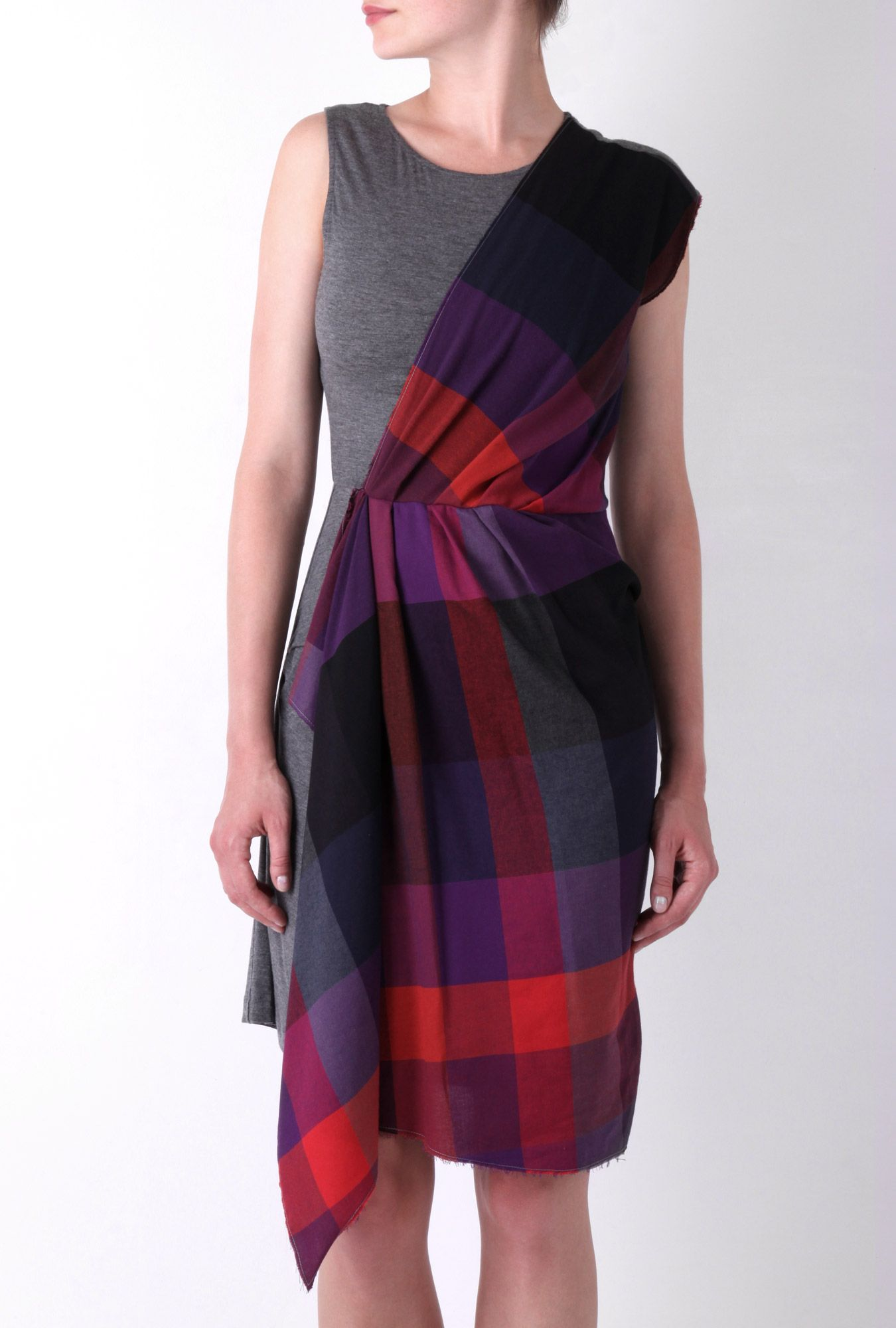 Tartan Drape Sleeveless Dress by McQ Alexander McQueen