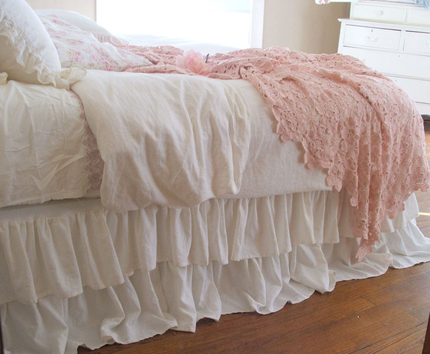superior Toile Bed Skirts Part - 14: Shabby Chic Bedding Romantic Tiered Ruffle Dust Ruffle Bed Skirt Twin Size  Off White Linen - from Ticking and Toile Linen Shoppe on Etsy