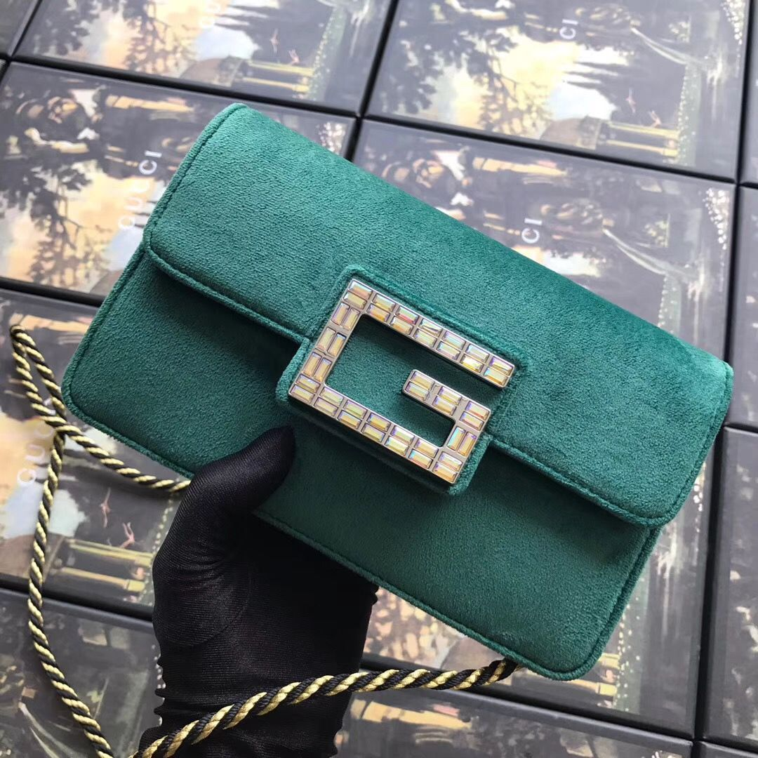 f673427e9f4b Gucci Shoulder bag with Square G in Green Velvet | Women's Fashion ...