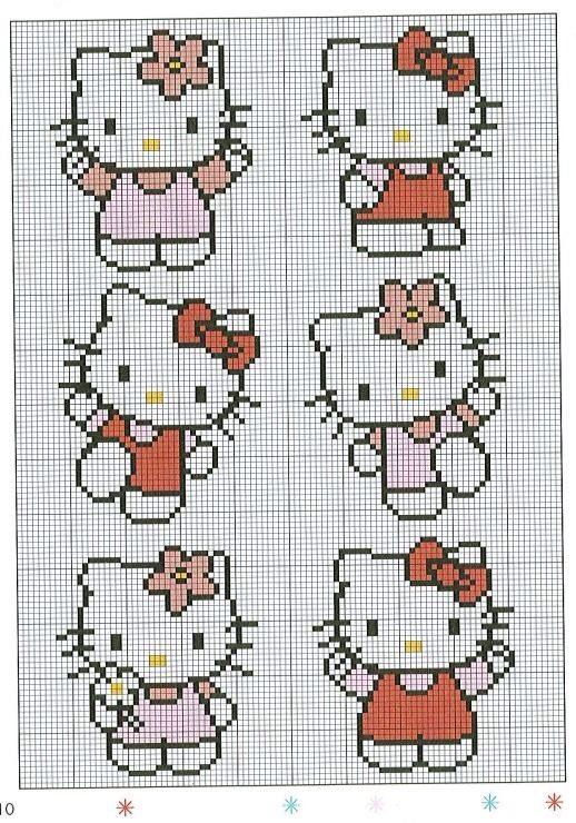 Hello kitty borduurpatroon | Cross Stitch | Pinterest | Bügelperlen ...