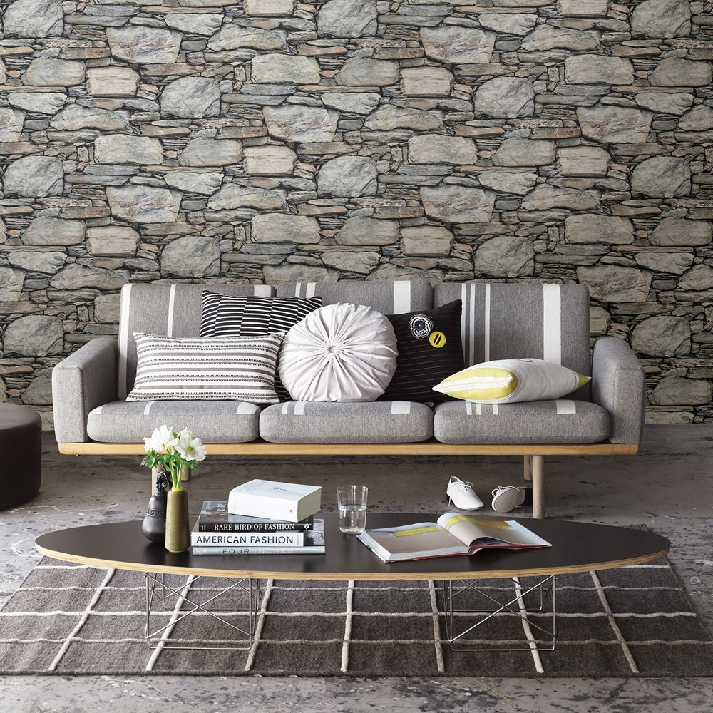 Brewster Wallcovering Reclaimed Stone Wall Grey Historic