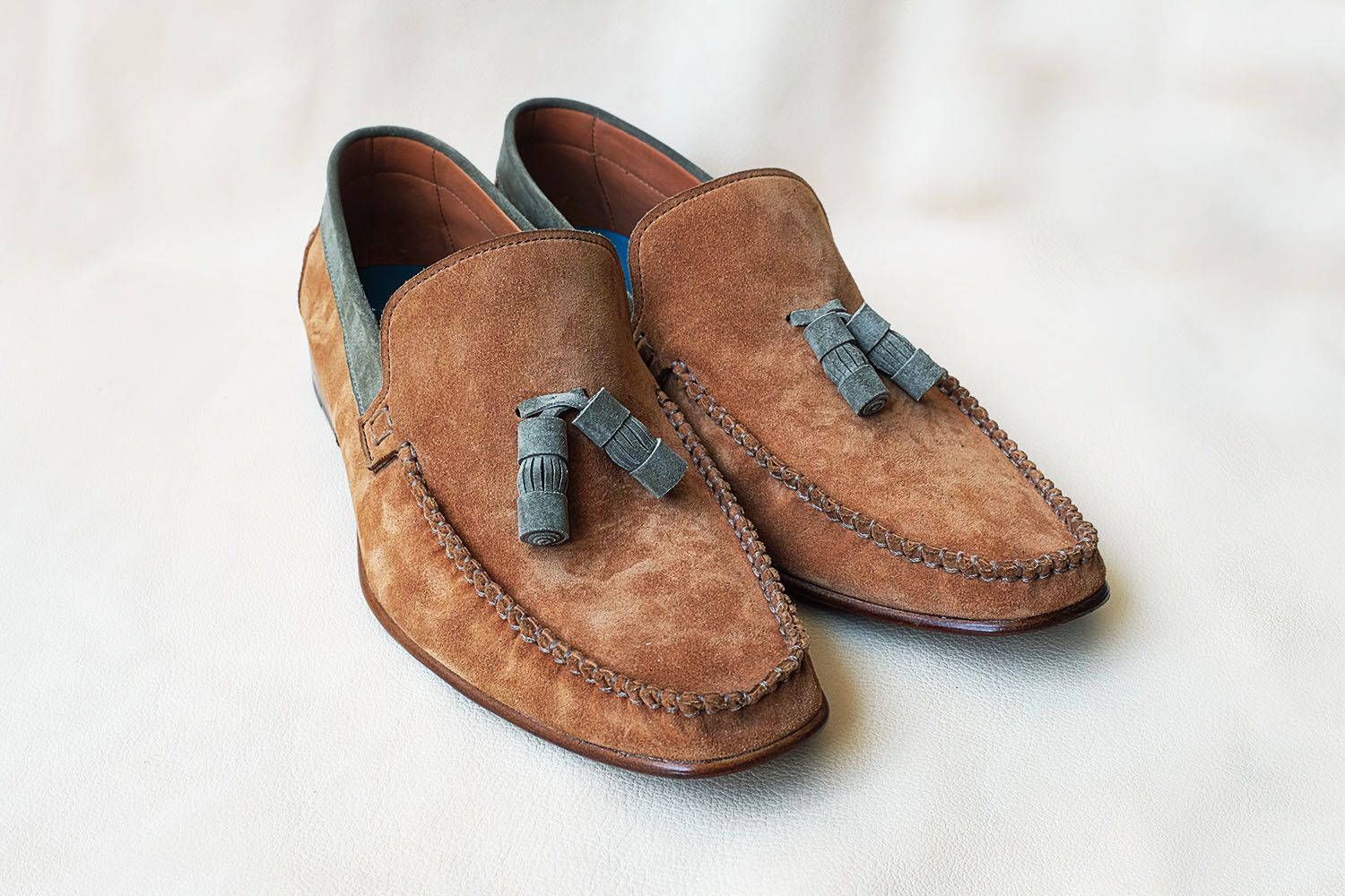 Dominique Saint Paul Boxer suede driving shoes with tassels by special request.