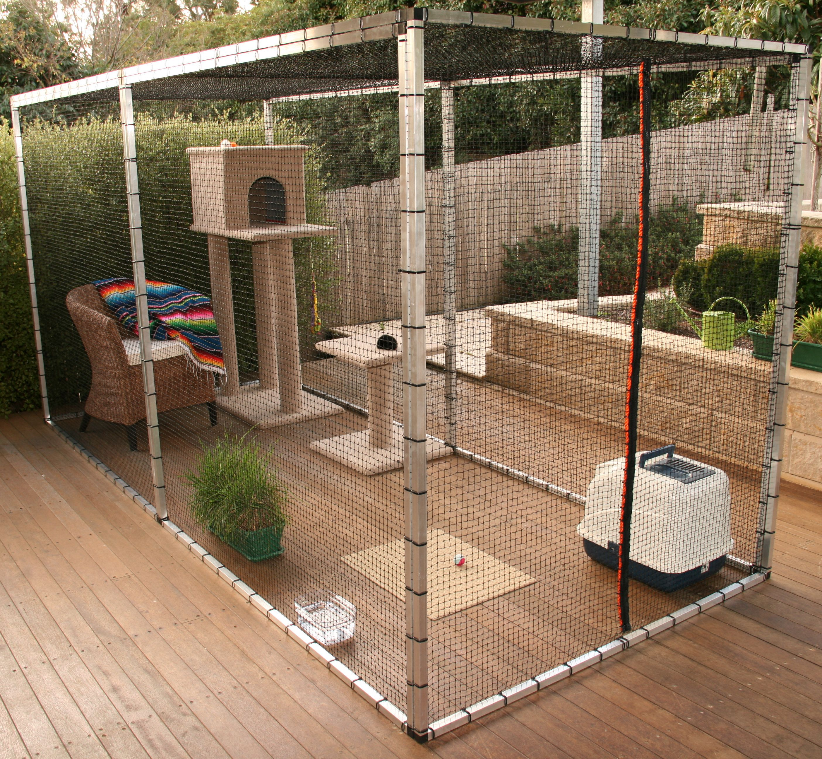 Cat enclosure outside with toys and box Cats Pinterest