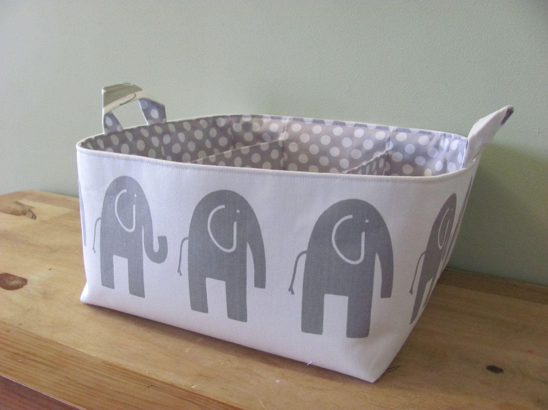 Diaper Caddy - Storage Bin Basket Container Organizer - Ele Grey ...