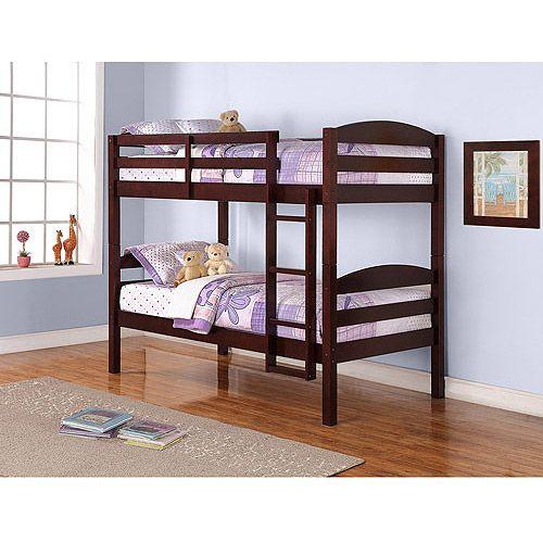 Better Homes Gardens Leighton Wood Twin Over Twin Bunk Bed Cherry Walmart Com Wood Bunk Beds Bunk Beds Cool Bunk Beds Twin over twin wood bunk beds
