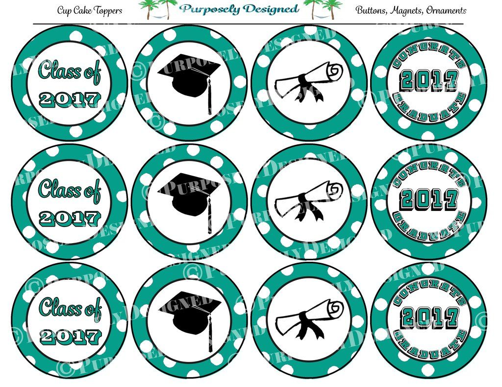 Graduation 2020 Cupcake Toppers Teal And White Printable Party Tags Printable Party Favors Party Printables Cupcake Toppers Printable Printable Tags