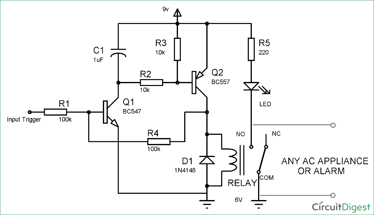 simple transistor latch circuit diagram electronic schematics rh pinterest com Self-Latching Relay Circuit Diagram Two Relay 24VDC Latching Relay Diagram