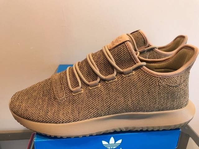 Adidas Tubular Shadow Knit Light Brown Oxford Tan Cardboard Beige