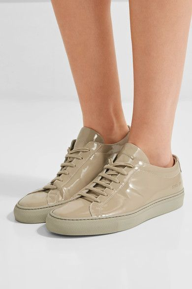 Rubber sole measures approximately 25mm/ 1 inch Beige patent-leather Lace-up front Made in Italy