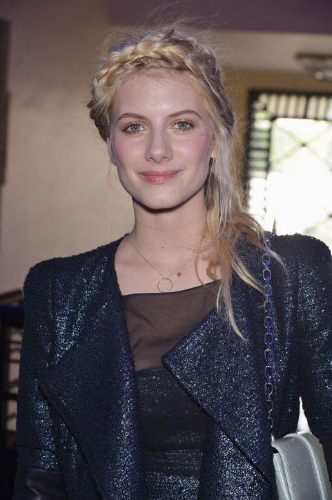 Melanie Laurent wore her hair in a Heidi braid to the Paris fashion shows this weekend.