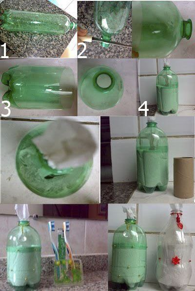 Guarda papel desde una botella