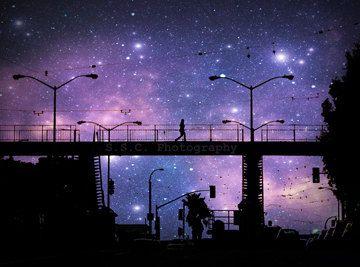 San Francisco City Photo Starry Night Photo Purple Art