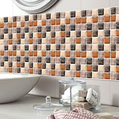 Marble Mosaic Kitchen Tile Stickers Bathroom Self-adhesive Wall Decal Home Decor
