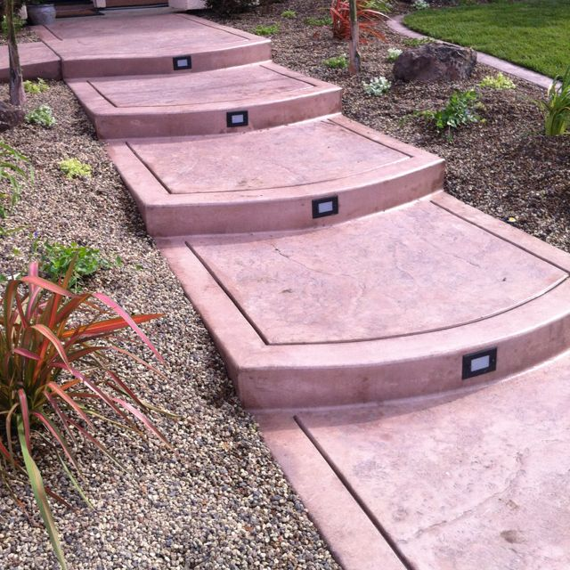 Stamped concrete, front steps www.SweetSouthernLiving.com ... on Concrete Front Yard Ideas id=40627