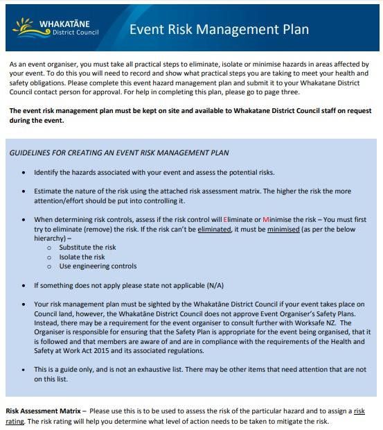 Event Risk Management Plan Risk Management How To Plan Risk Management Plan Example