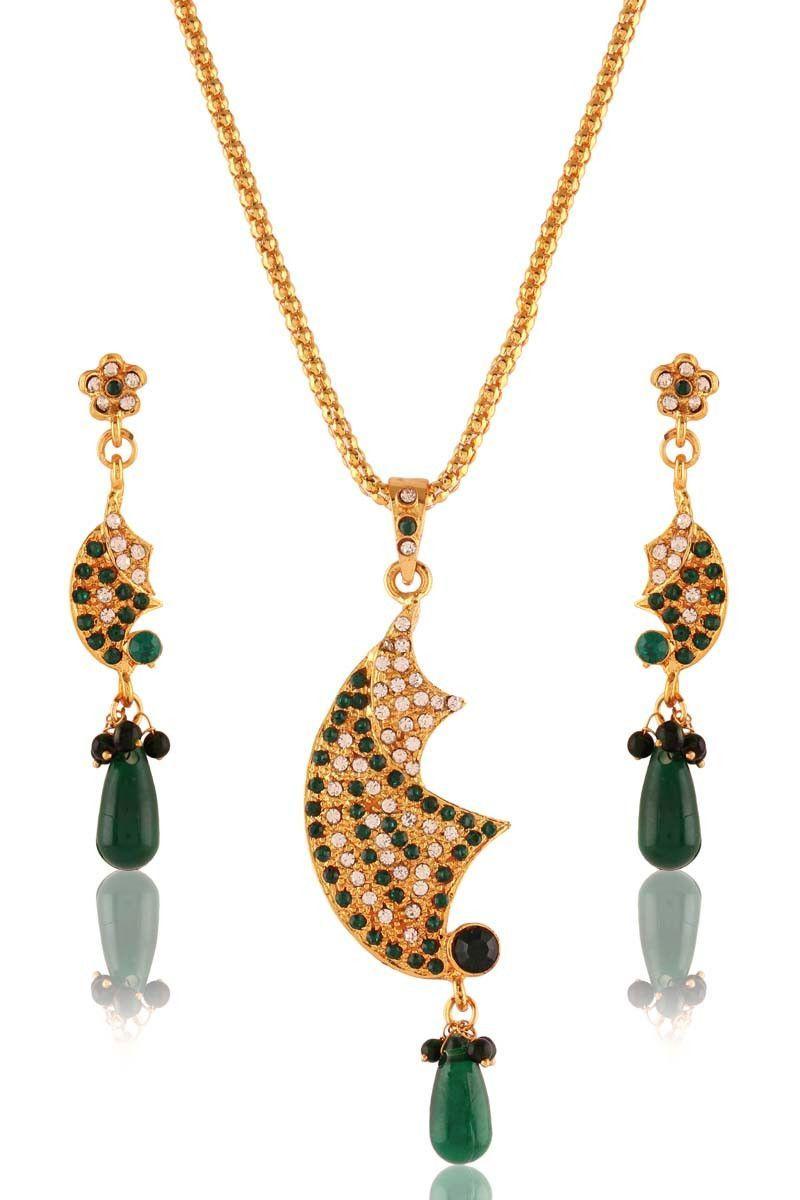 Green gold plated austrian diamond pendant set products