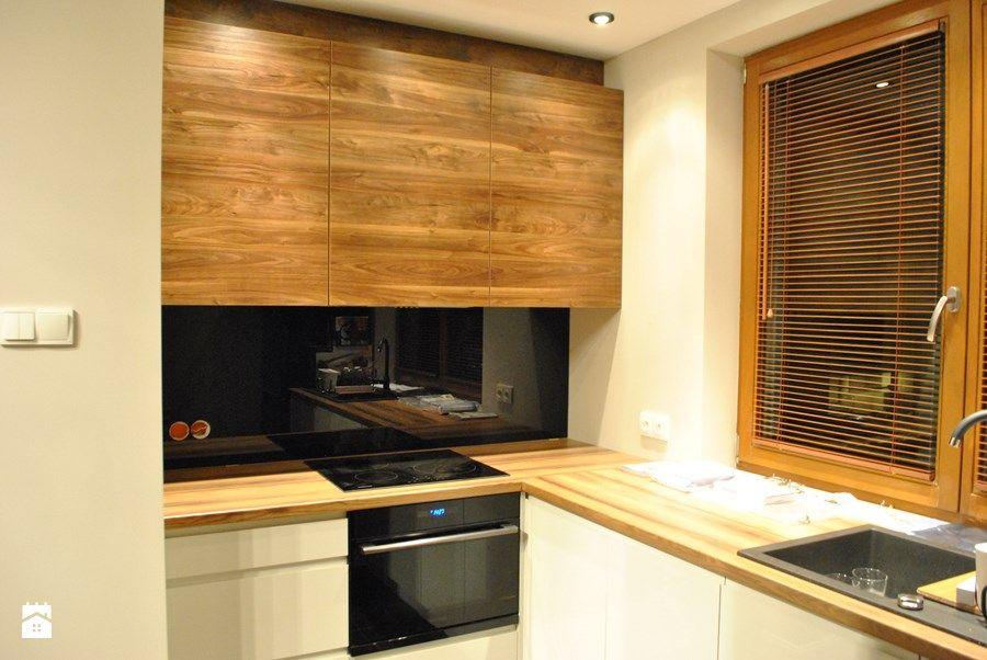 Kuchnia lakier biały, czarny lacobel + drewno  Kuchnia w   -> Kuchnia Jasna Drewno