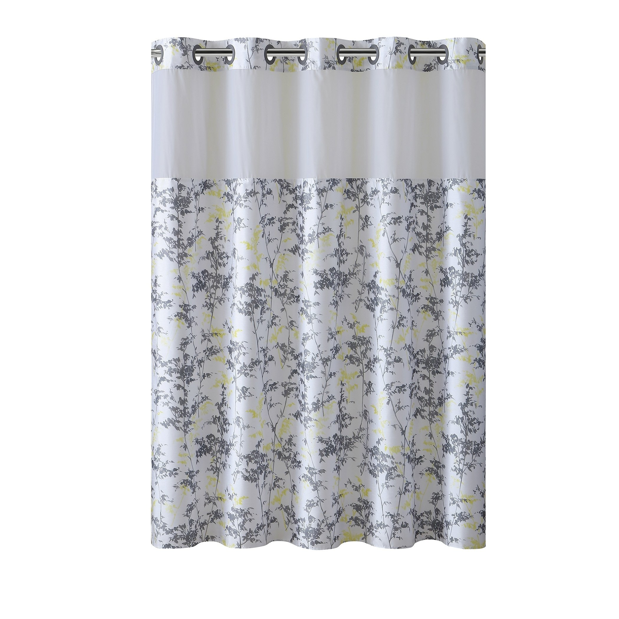 Hookless Shower Curtain Floral Leaves Gray Yellow Grey