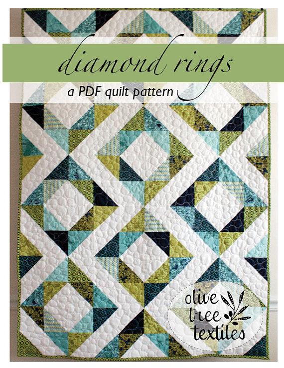 PDF quilt pattern // diamond rings | Quilt aus Dreiecken | Pinterest ...