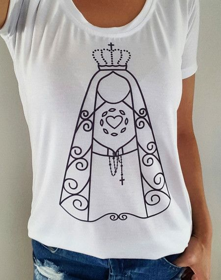 fc6bff2b4 Camiseta Nossa Senhora de Fatima branca