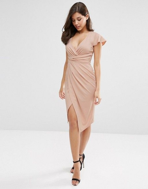 ASOS | ASOS Flutter Sleeve Wrap Front Midi Dress | Fashion - Wear ...