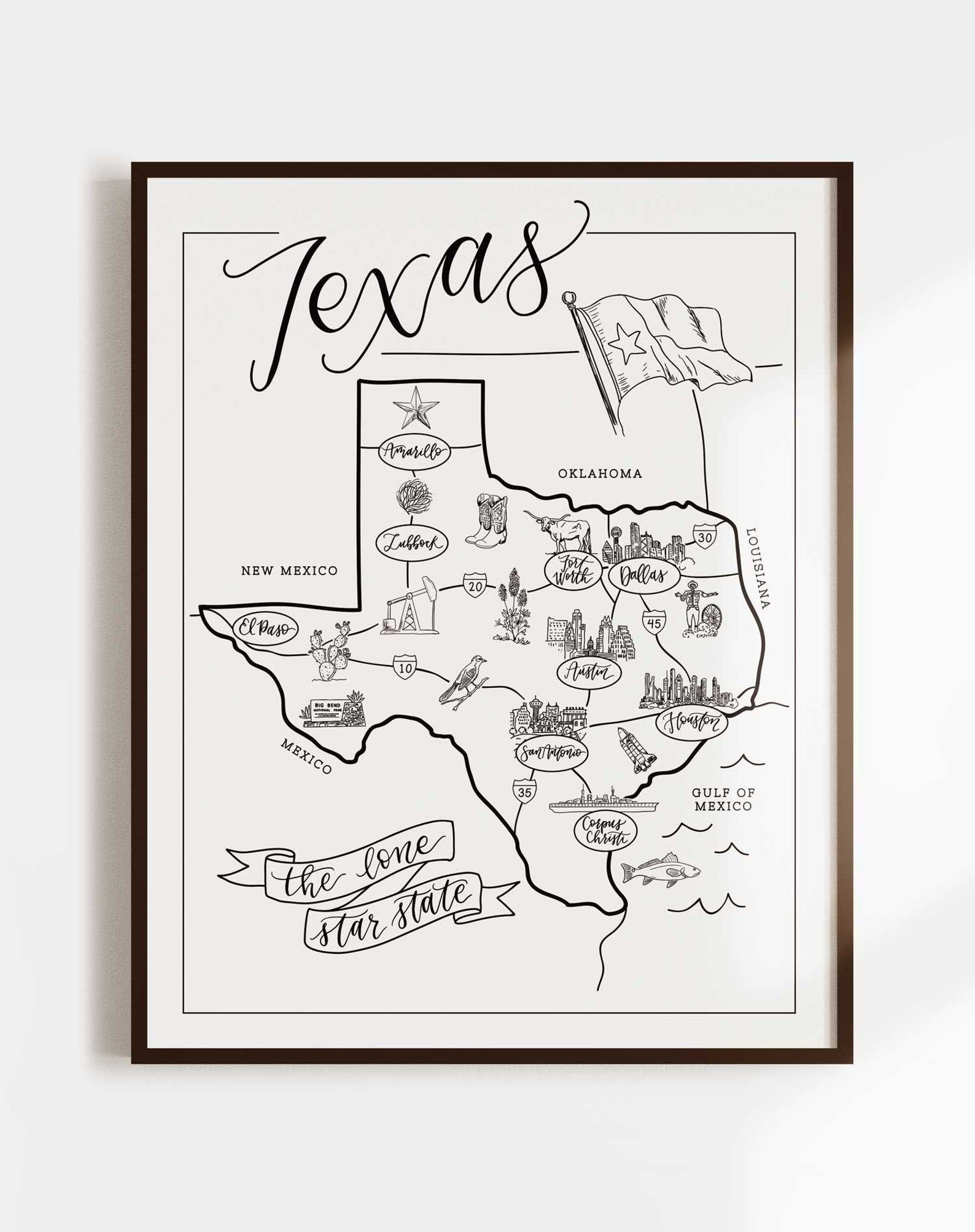 Texas Illustrated Map Texas Wall Art Print Nursery Decor Etsy In 2020 Texas Wall Art Illustrated Map Hand Illustration