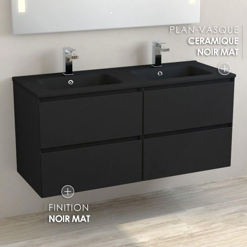Meuble Double Vasque Ceramique Noir Mat 120 Cm Noir Mat One Meuble Salle De Bain Meuble Double Vasque Double Vasque