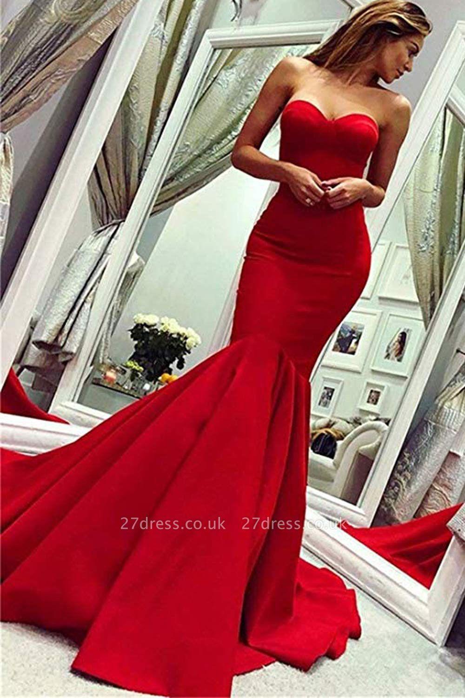Sweetheart Strapless Floor Length Mermaid Prom Gowns Red Mermaid Prom Dress Prom Dress With Train Prom Dresses Sleeveless [ 1500 x 1000 Pixel ]