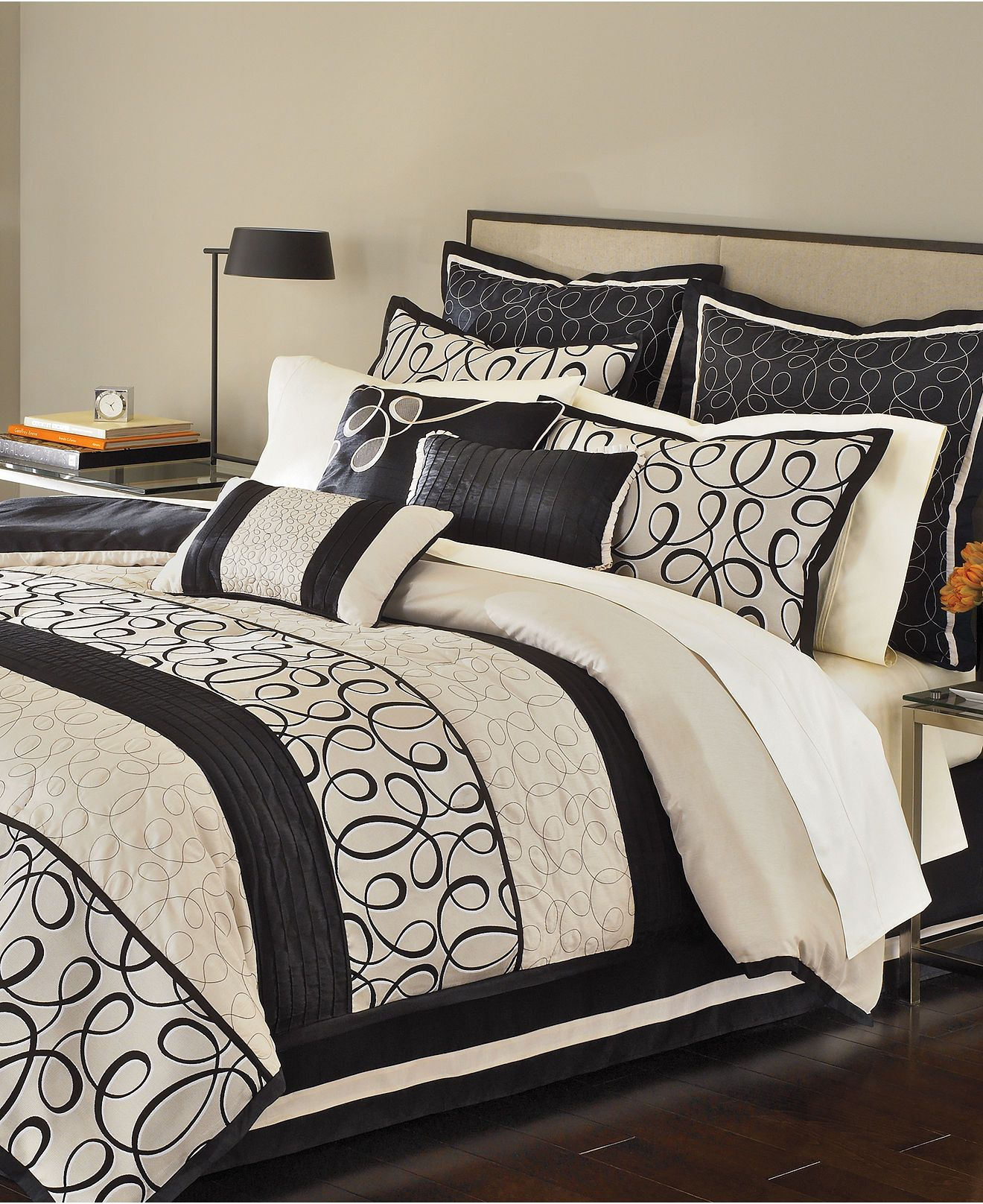 Best Black Cream And Gray Ashley Gomes Comforter Sets 640 x 480